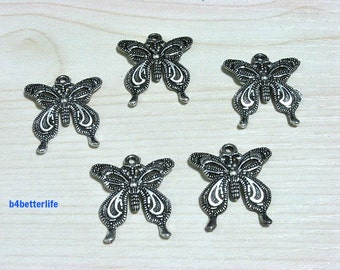 "Lot of 20pcs Antique Silver Tone ""Butterfly"" Metal Charms. #SW1018."