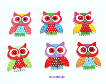 Pack of 12pcs Assorted Colors 2-holes Wooden Buttons For Crafting, Knitting, Scrapbooking. #Owl.