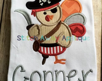 Pirate Turkey Thanksgiving Machine Applique Design