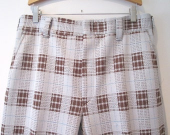 70's Hubbard poly slacks Big Brown Plaid Flared bottom Disco Pants.