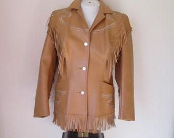 60's Pioneer Wear Faux Leather Western Fringed Rockabilly Jacket Vegan Hippie Jacket