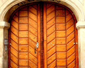 Wooden Door Print / Prague Travel Photography / Architecture Print / Home Decor / Wall Art / Fpoe