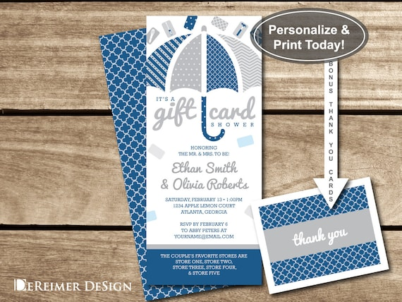 Gift Card Shower Invitation, Wedding Shower, Bridal Shower, Couples ...