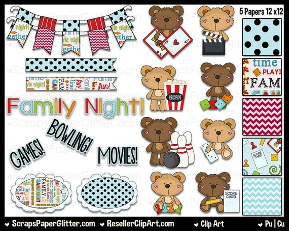 Clip Art Word Games : Family night clip art commercial use digital image clipart