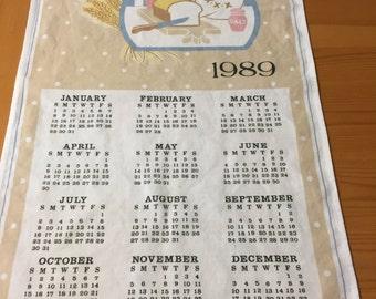1989 Calendar Towel with Kitchen Baking Scene