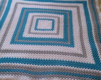 Handcrafted Crochet Blue, grey and white granny square blanket