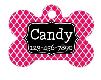 Pet Name Tag - Personalized Pet Name Tag - Custom Pink Pet Name Tag - Create Your Own pet name tag