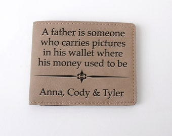 Leather Wallet for Dad - Personalized Father's Day Gift - Personalized Mens Wallet Kids Names