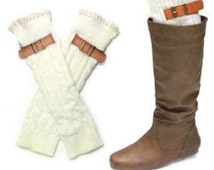 Lace trimmed White buckle boot cuff /leg warmers