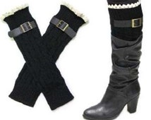 Lace trimmed black buckle boot cuff /leg warmers