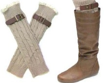 Mongram Lace trimmed Tan buckle boot cuff /leg warmers