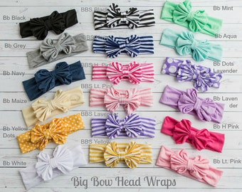Baby Headbands, CHOOSE COLOR Girls Head wraps, Messy Bow Baby Head wraps, Jersey Knit Headwraps, Big Bow Baby Headbands, Knott Headband