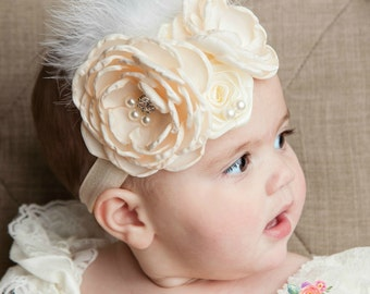 Ivory Headband,Baby Headband, Feather headband,Flower girl headband,flower headband,Shabby chic headband, Baby girl headband, Easter Bow