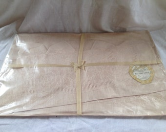 10% OFF SALE Vintage Table Linens Set/ Napkins/ Placemats/ Linbro Pure Linen Made in Czechoslovakia