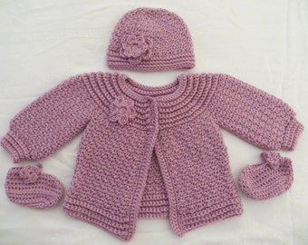 Baby girl sweater set, crochet sweater and hat