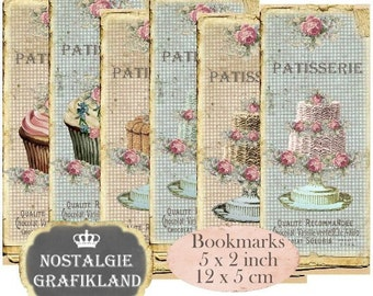 Bookmarks digital Patisserie Instant Download digital collage sheet E056 Vintage Confiserie Bakery Paper wedding Cakes