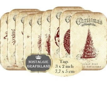 Merry Christmas Tags Instant Download digital collage sheet T200 Old Paper Labels Joyeux Noel