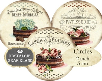 Cake Patisserie French Cafe Chocolate Tarte Circles 2 inch  Vintage Instant Download digital collage sheet C139