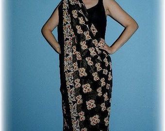 Vintage Black Silk and Embroidered Indian Sari