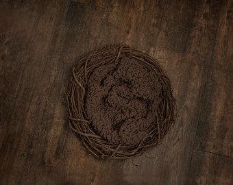 Dark Brown Wreath Newborn photography digital prop
