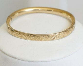 Vintage c1960s 12k Gold Violets Bangle Bracelet SMALL WRIST ONLY