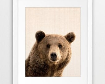 Bear Wall Art Print, Woodlands Nursery Decor, Bear Photo, Nursery Animal Printable, Kids Room Decor, Nursery Wall Art, Animal Digital Print