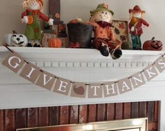 Give Thanks banner, Be Thankful sign, halloween decor, fall banner, fall decor, fall decorations, autumn banner, Thanksgiving banner