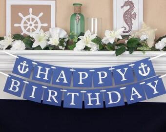 Happy birthday banner, birthday party decoration, birthday banner, happy birthday sign, party banner, boys birthday, anchor, nautical