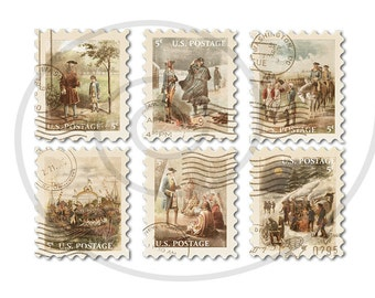 Fake stamps. Old postage stamps. Vintage digital stamps. Postage stamp art. Digital collage sheet.Life of George Washington.Instant download