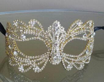 Rhinestone Crystal Masquerade Gold Mask/Masquerade Wedding/Gold Halloween Mask