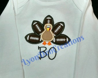 Turkey Football Onesie or Tshirt Personalized with Monogram