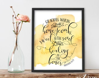 Proverbs 16 Scripture Print, Gracious words are a Honeycomb INSTANT DOWNLOAD 8x10 PRINTABLE Art, Christian Bible Proverbs 16:24 Wisdom Print
