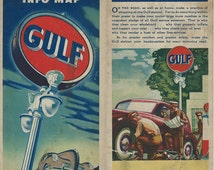Gulf Oil Company 1940's Road Map of North and South Carolina and Southeast US
