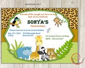 Jungle Safari Theme Birthday Invitation and Thank You Card - digital, printable