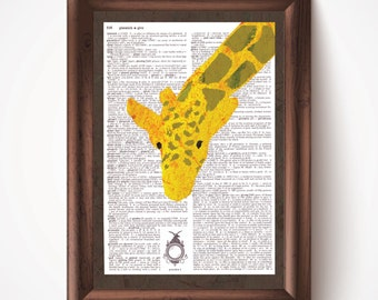 Giraffe Defined Dictionary Page Print from Pastel Drawing