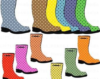 70% OFF SALE Polka Dots Rain Boots Clip Art - Digital Scrapbooking - Personal and Commercial Use - Instant Download - D388