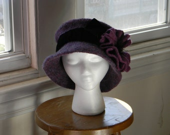 "Felted women's wool hand-knit hat bluish & reddish purples-- felted poppy-- 2"" black velvet ribbon band-warm--  Dusk"
