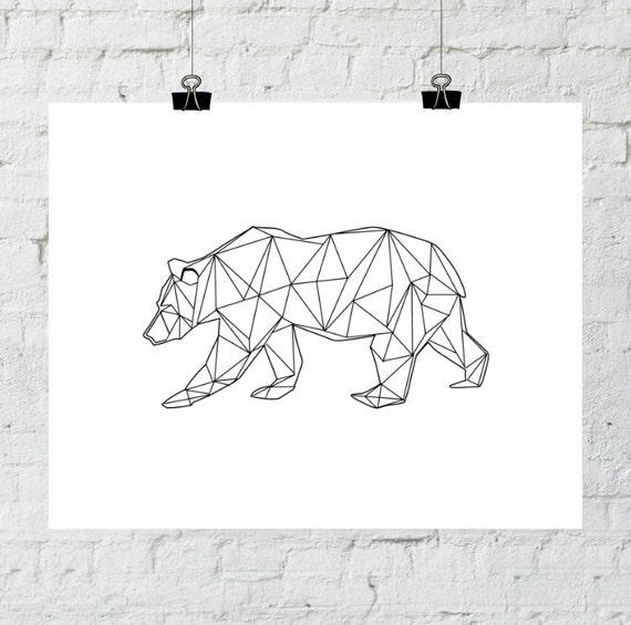 Bear Print, Bear Art, Geometric Bear, Geometric Print, Geometric Art, Wall Art Prints, Printable Art, Instant Digital Download