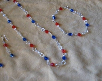 Red, white and blue necklace, bracelet and earring set