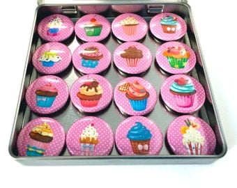 Cupcake 16 Magnet Set