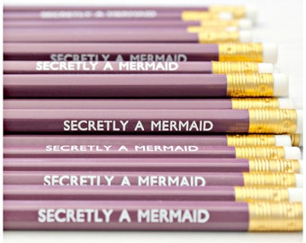 Secretly A Mermaid Pencil | Violet Luxury White Foil Stationery | Birthday Gift | Party Favours | Fun Present | Planner | Desk | HB Pencils