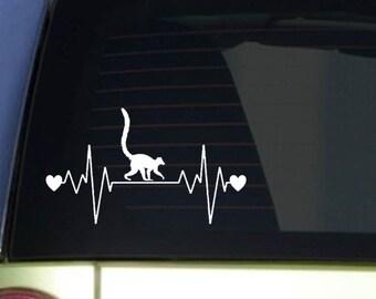 """Lemur heartbeat lifeline *I228* 8"""" wide Sticker decal zoo animal monkeys ape"""