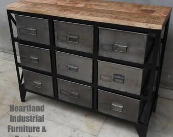 Industrial 9 Drawer Cabinet - Vintage - Great Storage