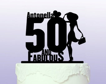 Personalised 50 and Fabulous Cake Topper