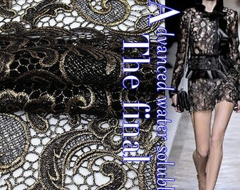 ON SALE, Black Golden Lace Fabric, Hollow out lace fabric , Polyester Lace Dress Fabric,  fashion lace fabric  - 47 inches wide x 1 yard