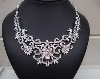 Statement wedding necklace vintage rhinestone flower bride necklace clear crystal choker diamante bridal jewelry statement wedding jewellery
