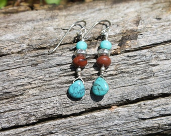 Turquoise and Pietersite Earrings w/ Sterling Silver Earwire and Bali Beads