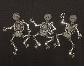 Happy Halloween Sweater Beaded Skeletons Dancing Skeletons Beaded Shirt with Skeletons Size XL