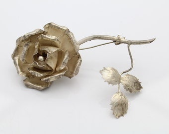 Artisan Sterling Silver Large Romantic Rose Brooch Handmade Mexico. [5484]
