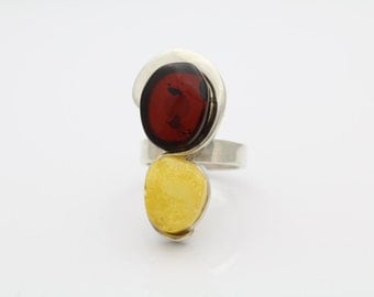 Bold Sterling Silver Natural Yellow and Cognac Amber Artisan Ring Sz 7 Adjustable. [5558]